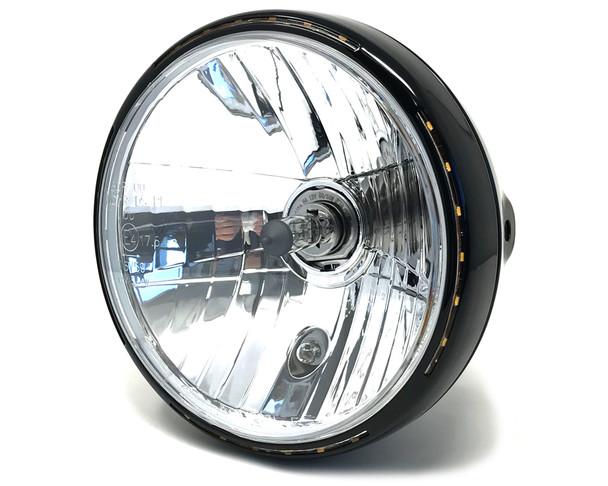 "Retro 7.5"" Headlight 55W with Slim Halo Ring - Black - Homologated"