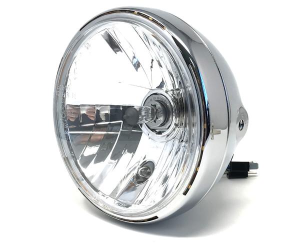 "Retro 7.5"" Headlight 55W with Slim Halo Ring - Chrome - Homologated"