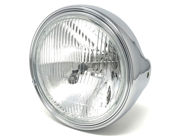 "Chrome 7.5"" Headlight 55W - Shallow - Homologated for Retro Project Bike"