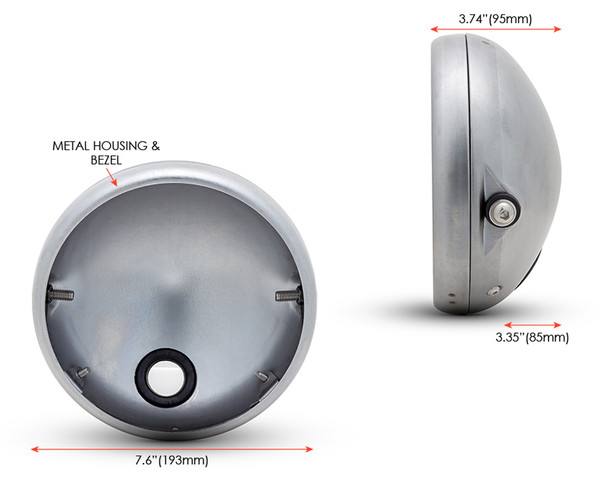 "7.7"" Headlight Housing Bucket with Bezel - Shallow - for Retro Project"