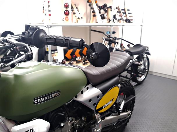 Pair of High Quality Motorcycle Motorbike Trike CNC Machined Black Aluminium Round Bar End Mirrors