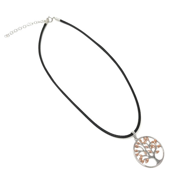 Ladies Sterling Silver Tree of Life Pendant with Rose Gold Plated Leaves on 41-46cm Leatherette Cord Necklace