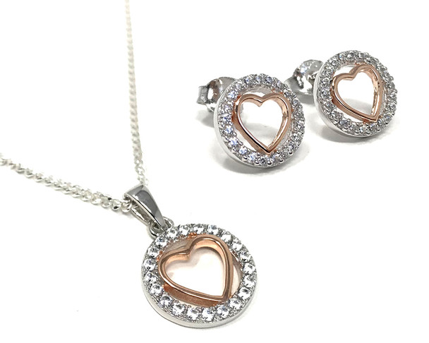 Rose Gold Plated Heart in Cubic Zirconia Circle on a Sterling Silver Chain with Matching Earrings