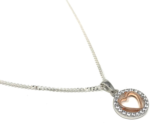 Rose Gold Plated Heart in Cubic Zirconia Circle on a Sterling Silver Chain