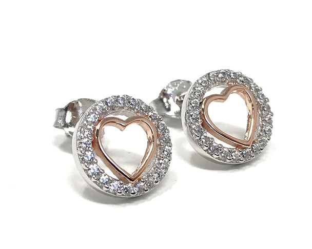 Sterling Silver Studs with Rose Gold-Plated Heart in Cubic Zirconia Circle