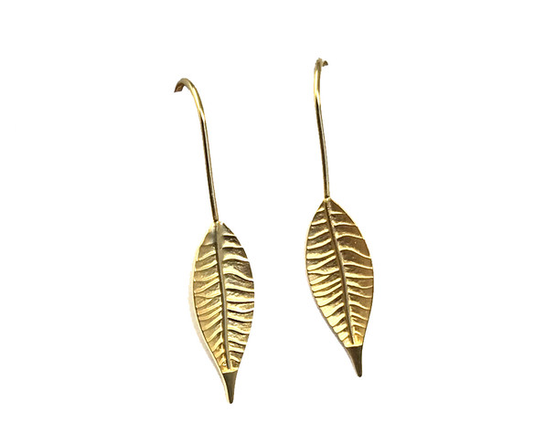 Gold Plated Thin Leaf Design Hook-in Drop Earrings
