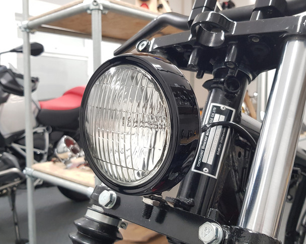 "5"" Motorcycle Shallow Headlight 12V 55W in Gloss Black for Project Custom Bike"