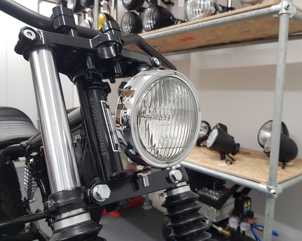 "5"" Motorcycle Shallow Headlight 12V 55W in Chrome for Project Custom Bike"