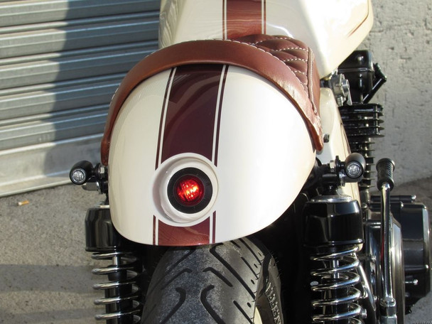 "PAIR OF 2"" 50mm Cafe Racer Flush Mount LED Stop / Tail Lights with Red Lens"
