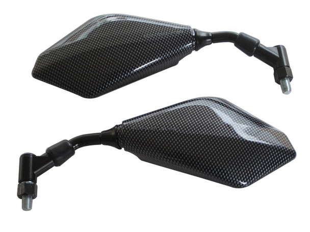 Pair of Excellent Quality Carbon Fibre Look E-marked 10mm Wing Mirrors for Motorcycles Motorbikes Trikes