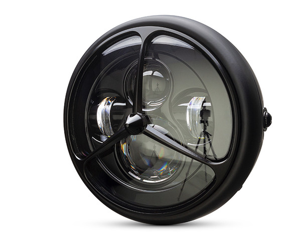 "Motorcycle Headlight LED 7.7"" with 3 Line Grill for Retro Cafe Racer & Streetfighter"
