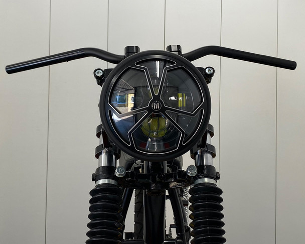 "Motorcycle Headlight LED 7.7"" with Spider's Web Design Grill for Retro Cafe Racer & Streetfighter"