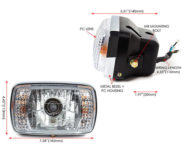 Motorcycle Headlight with Integrated Indicators for Honda CB 125 TD & CG125 Brazil Model Version - HOMOLOGATED