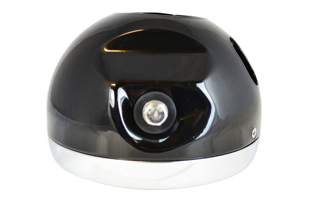 Motorcycle Headlight Black Metal With Chrome Bezel Custom Project Retro