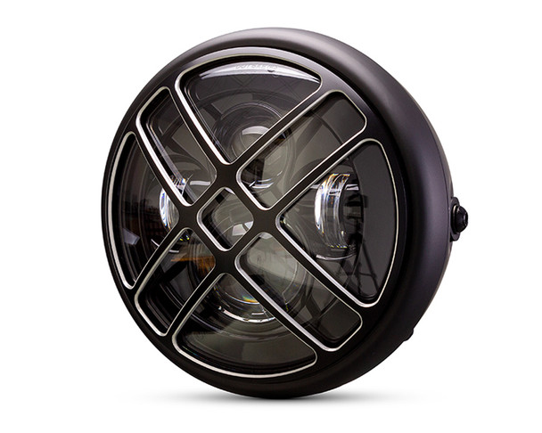 """Motorbike Headlight LED 7.7"""" with Titan Design Grill for Retro Cafe Racer & Streetfighter"""