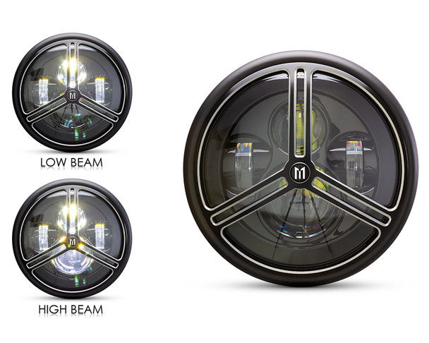 """Motorbike Headlight LED 7.7"""" with Tri-Pro Design Grill for Retro Cafe Racer & Streetfighter"""