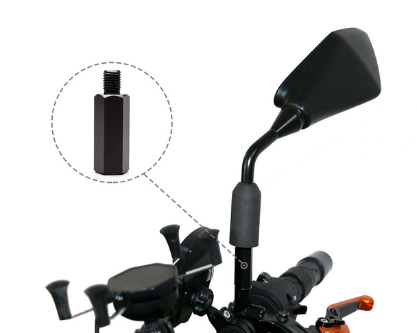 Pair of Motorbike Vertical Mirror Extenders 1 x Clockwise 1 x Anticlockwise Thread - M10 10mm