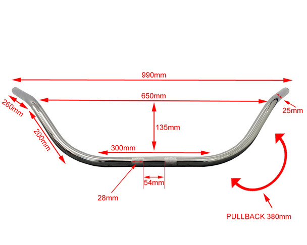 "Motorcycle 25mm 1"" Beach Bars Handlebars CHROME 15"" High"