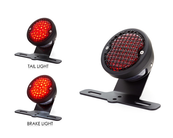 Retro LED Stop Tail Driving Light with Vintage Mesh Grill - Matt Black