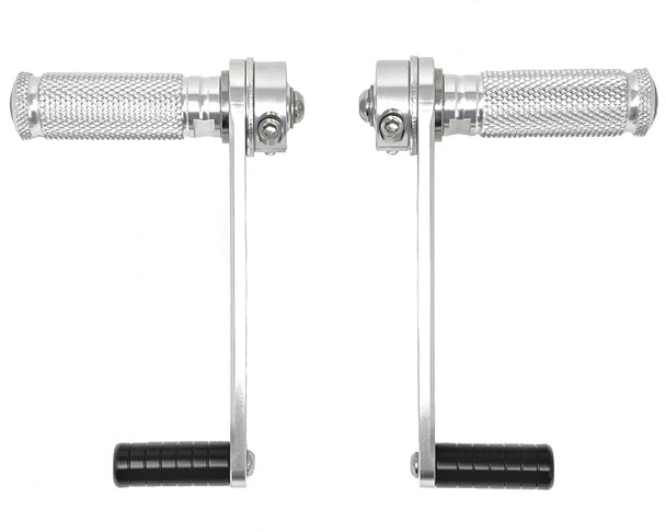 Motorbike Rearsets Footpegs Inc. Hanger Polished Aluminium Alloy Cafe Racer PAIR