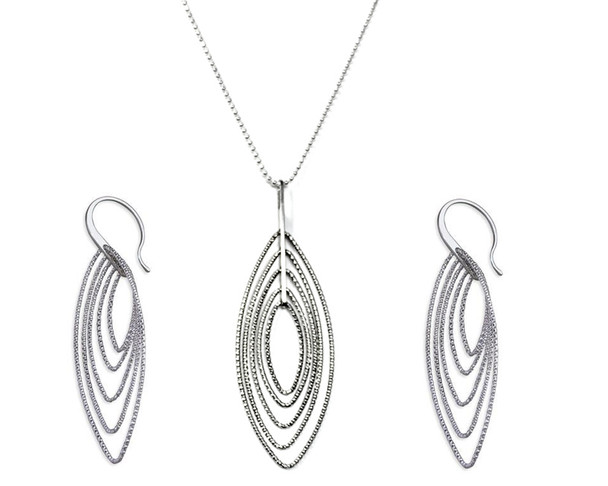 Silver Multi Diamond-Cut Oval Necklace Pendant on Long Length Chain 76cm with Matching Earrings Set