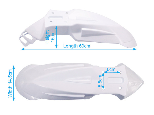 WHITE Universal Motorcycle Motorbike Mudguard / Fender for Supermoto Enduro Dirt Bike