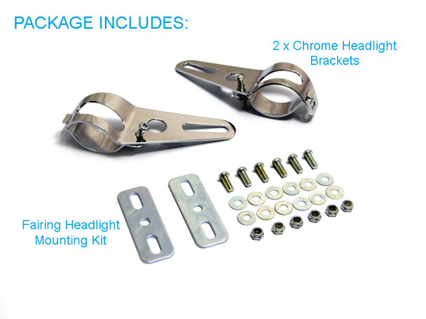 Pair Of Chrome Universal Fork Mount Headlight Brackets fit 36mm - 49mm Forks for Motorbike Trike