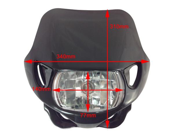 Universal 12V/35W Motocross Headlight For All Motocross & Enduro Motorbikes Black