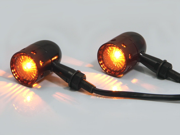 Black Aluminium Cafe Racer / Custom Bike Drilled Indicators fits most Motorbikes