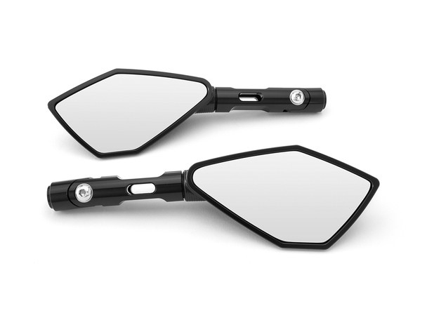 High Quality Stylish Short Billet Aluminium 8mm / 10mm Cafe Racer Mirrors For All Unfaired Motorcycles Inc. Ducati & Yamaha