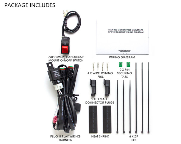 Complete Spot / Fog Light Wiring Loom Harness Kit with On/Off Switch For Motorbikes / Motorcycles / Quads -