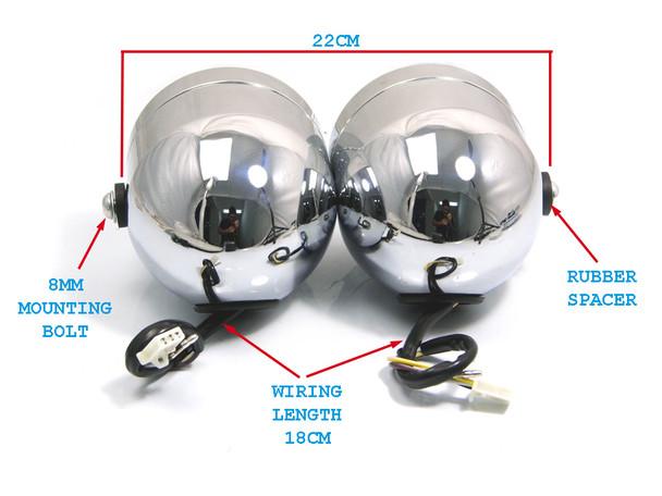 Pair of Chrome Streetfighter Retro Trike Motorcycle Motorbike 35 Watt Headlights