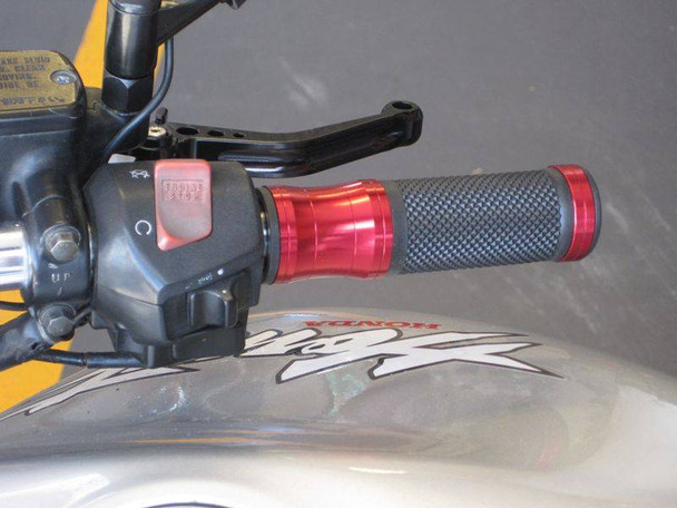 Red Anodised Aluminium / Rubber Motorcycle Motorbike Hand Grips