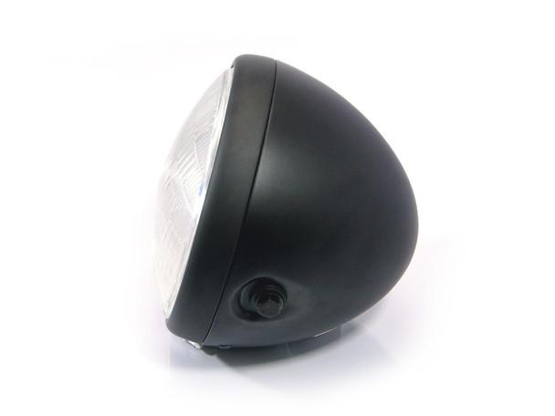 "Motorcycle Headlight 7.7"" Matt Black Steel 12V 55W for Custom Project"