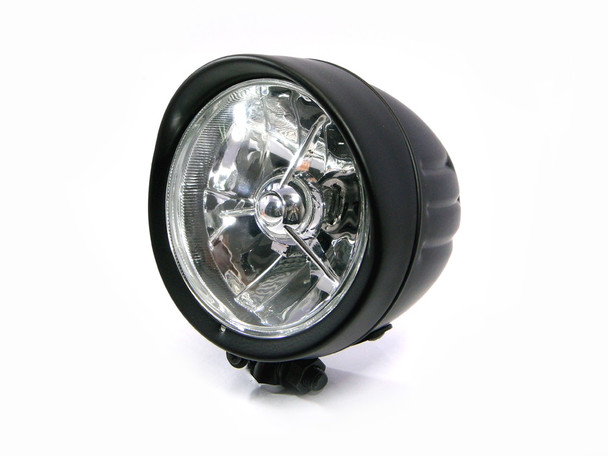 "5"" Matt Black Bottom Mount H4 55W Custom Motorcycle Motorbike Steel Headlight"