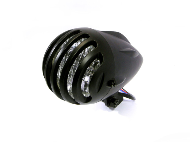 "4.5"" Matt Black Aluminium Ally H4 55w E-marked Universal Motorcycle Motorbike Headlight"