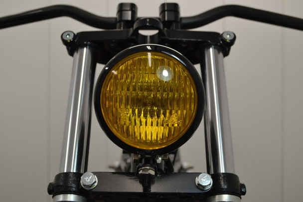 "4.75"" 120mm BLACK Bates E-marked Yellow Metal Motorcycle Motorbike Headlight"
