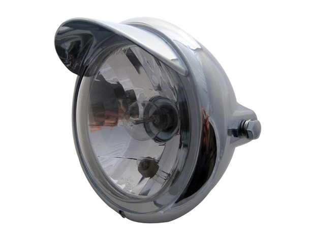 Universal Motorcycle Motorbike Trike Classic Chrome E-marked Headlight with High and Low Beam