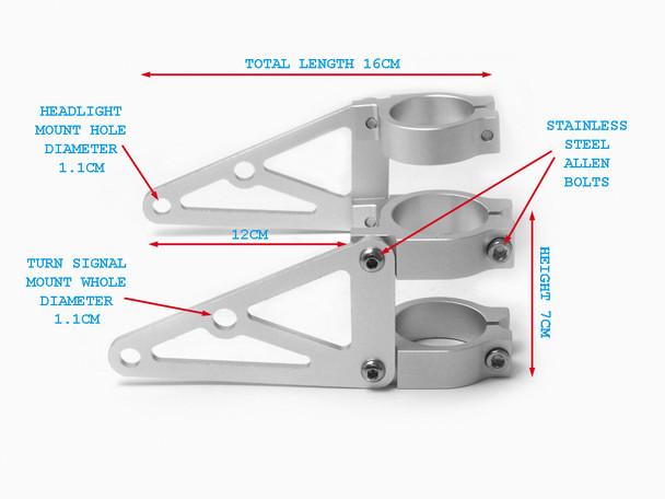 High Quality CNC Brushed Aluminium Fork Mounted Motorcycle Motorbike Headlight Brackets (size options available)