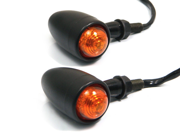 Set of 4 Matt Black Custom Aluminium LED Indicators/Turn Signals Motorcycles Motorbikes