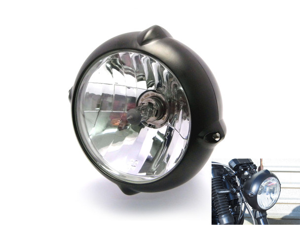 "6.7"" 12V / 55W Matt Black Bottom Mount Motorbike Trike Headlight"
