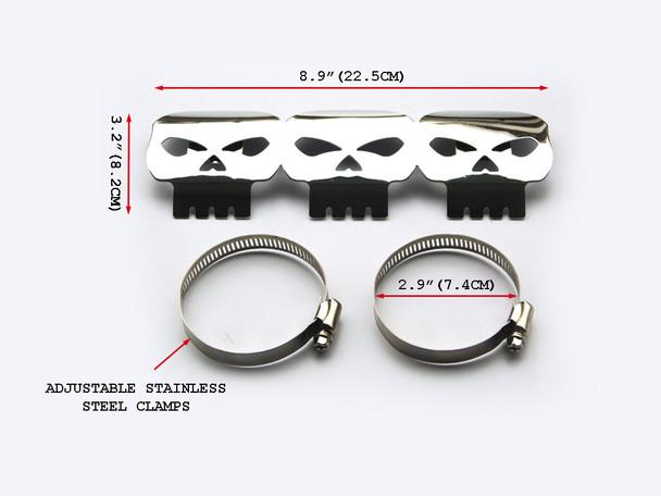 Chrome Skull Exhaust Heat Shield for Retro Cruiser Custom Project Motorbike