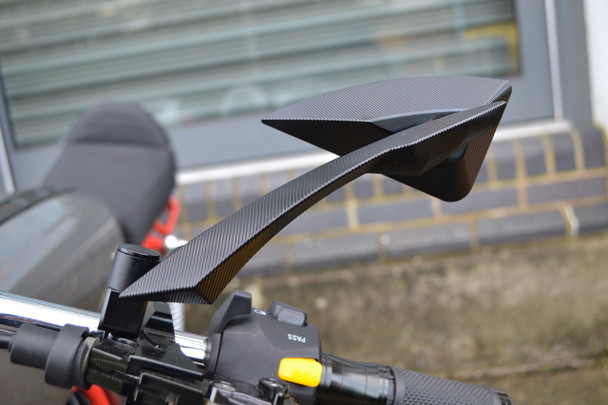 Black CNC Machined Billet Aluminium Razor Mirrors Naked Motorbikes Trikes Scooters
