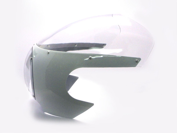 "WHITE Cafe Racer Fairing Cowl with Clear Windshield and 6 3/4"" Chrome Headlight"