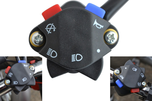 """Motocross Enduro Motorbike Motorcycle Light Horn Kill Switch for 22mm 7/8"""" Handlebars"""
