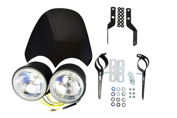 Motorbike Dual Double Headlight Kit 55W with Screen & Mounting Brackets - Ideal for Streetfighter Cafe Racer Retro Trike