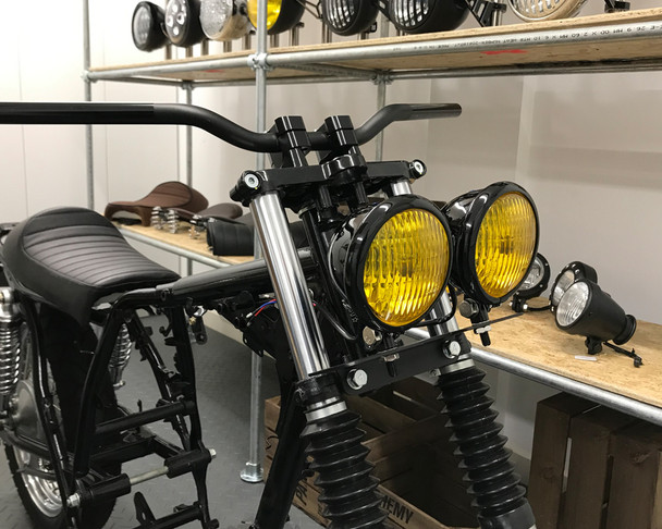 """4.75"""" Headlights with Yellow Lens - PAIR - BLACK 35W for Custom Project - Bottom Mount"""