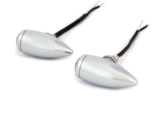High Quality Chrome Aluminium Bullet LED Retro Vintage Custom Motorbike Indicators