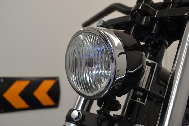 "4.5"" 4 1/2"" Gloss Black & Chrome Headlight 12V 55W for Custom Project Motorbike Motorcycle"