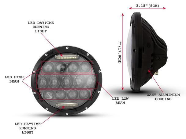 "7"" 75W Black Multi Projector LED Headlight Insert with Daytime Running Lights"